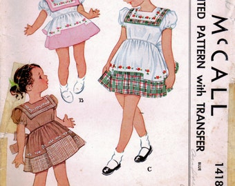 1940s McCall 1418 Vintage Sewing Pattern Girl's Full Skirt Dress, Party Dress, Embroidered Dress Size 6