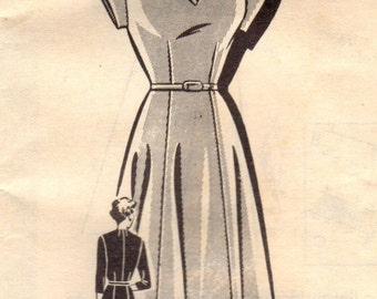 1940s Mail Order 1993 FF Vintage Sewing Pattern Misses Afternoon Dress, One Piece Dress, Party Dress Size 12 Bust 30