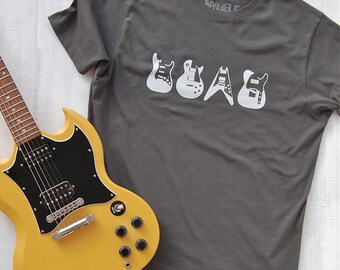 Iconic Guitars T-shirt - guitar t-shirt - music tees - gifts for guitar players - mens t-shirts - gifts for him - birthday - dad gift