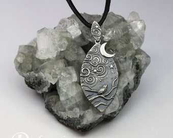 Forest Stories - Magical Night - sculpted silver pendant, limited collection