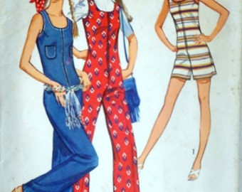 Vintage 70's Simplicity 9273 Sewing Pattern, Junior Petites Jumpsuit in Two Lengths, 1970's Retro Boho Fashion, Size 7JP, 32 Bust, Uncut FF
