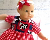 15 inch Doll Cowgirl Dress with Headband, Red Gingham and Cow Print Dress, Matching Headband