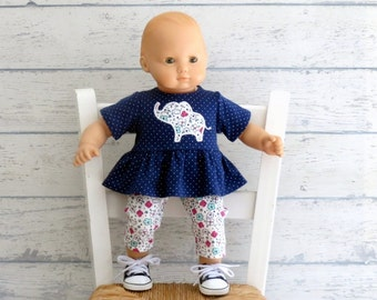 15 inch Doll Outfit, Baby Elephant Ruffle Top and Matching Leggings