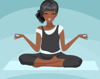 Yoga instructor Avatar. Yoga, healthy living character Graphic. African American Blog, web avatar,dark skin, Girl with yoga pants, yoga mat
