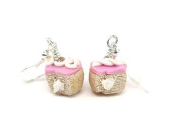 Pink Hostess Cupcake Earrings, Miniature Food Jewelry, Polymer Clay Food Jewelry