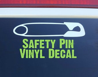 Safety Pin Vinyl Decal in White - FREE SHIPPING