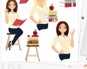 Woman teacher character clipart, teaching illustration, classroom clipart set with blonde, brunette and auburn hair (Lisa  L075)