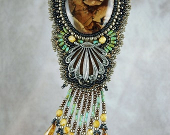 Necklace, bead embroidered, western, silver, picture jasper cabochon, one-of-a-kind,beaded necklace