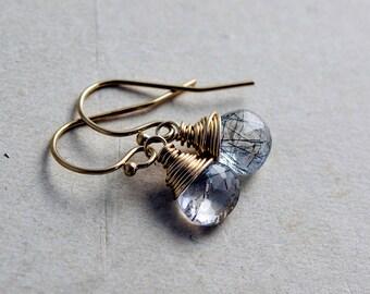 Tourmalinated, Gold Earrings, 14K gold filled, black and white, yellow gold, drop earrings, dangle earrings, polestar, quartz earrings,