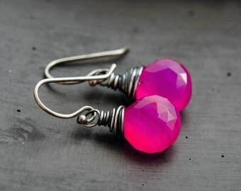 Hot Pink Gemstone Earrings, Bright Drop Earrings, Pink Chalcedony Jewelry in Sterling Silver