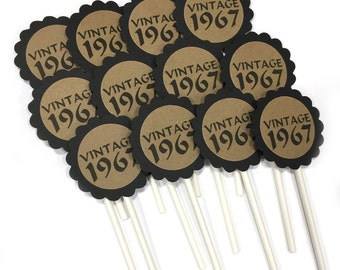 50th Cupcake Toppers - Vintage 1967, Black and Kraft Brown or Your Choice of Colors, Set of 12
