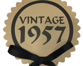 60th Birthday - Vintage 1957 - Cake Topper Decoration, Candy Pick, Kraft Brown and Black-Ready to Ship