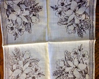 Vintage Hankie, Lily flower bouquets, mulberry color, handkerchief, mid century