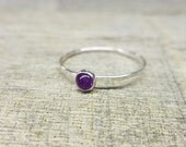 Amethyst Ring Sterling Silver Stacking Ring