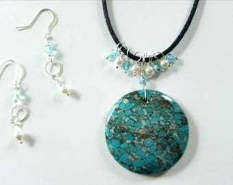 Sea Sediment Jasper Necklace With Swarovski Pearls And Glass Beads, Matching Earrings