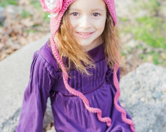 Pixie hat - Girl's Crochet hat - Toddler hats for girls -  Winter hats - pixie bonnet - fairy hat - pixie hood - newborn hat - photo props