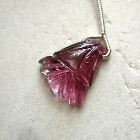 Pink Tourmaline Carved Tassel Pendant Bead 13.5x15mm - Gemstone Focal Pendant
