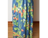 vintage Blue Maxi Skirt with Strawberry Design - Fits XS - Celebrate SPRING - N - SUMMER