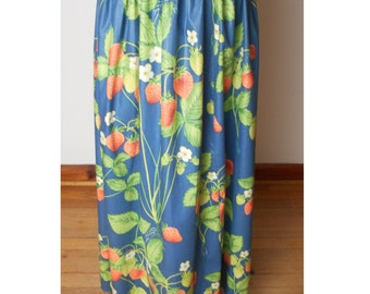 vintage Blue Maxi Skirt with Strawberry Design - Fits XS - Celebrate SPRING - N - SUMMER #011