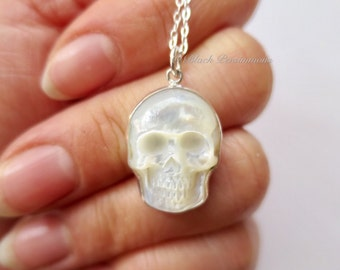 Hand Carved Mother of Pearl Skull Necklace - 925 Sterling Silver Cranium Skeleton Pendant - Insurance Included