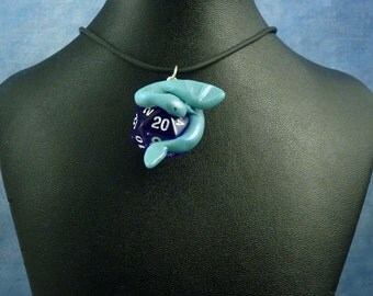 Baby Blue and Blue Dicekeeper Dragon Necklace - D20 Pendant