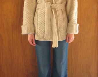 1970s textured wrap sweater coat, m - l