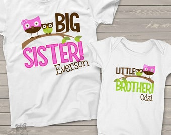 big sister, little brother shirt - adorable funky owl combination can be made for any sibling set too - MOWL1-002