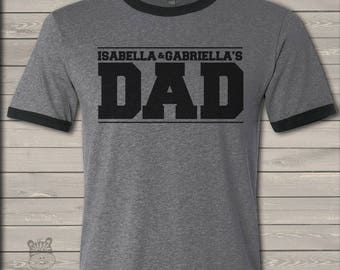 Dad shirt - custom dad shirt personalized with kids names ringer style Tshirt MDF1-072