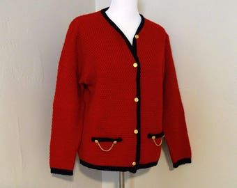 Vintage Wool Sweater, Made in Ireland, Bright Red Cardigan with Dark Navy Trim, Goldtone Buttons and Chains by Blarney Woollen Mills, Sz M