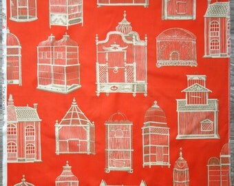 """Schumacher Fabric Scrap, Cage a Oiseaux Screenprint Cotton Fabric in Coral, 25"""" x 25"""" Piece with Large Victorian Birdcages in White and Tan"""