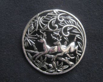 Vintage Leaping Deer in Forest Pin/Pendant