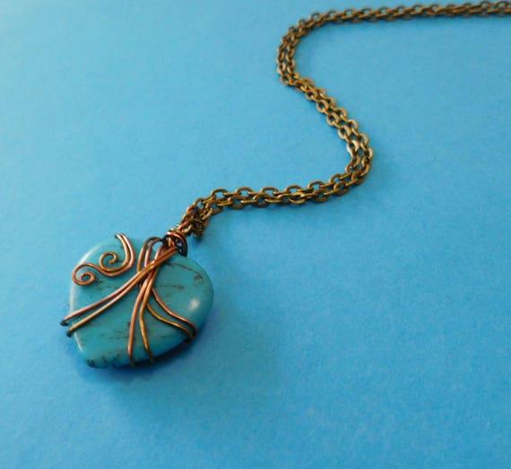 Gemstone Necklace Girlfriend Gift, Heart Necklace Girlfriend Gift, Gemstone Necklace Gift for Wife, Wire Wrapped Gemstone Heart Necklace