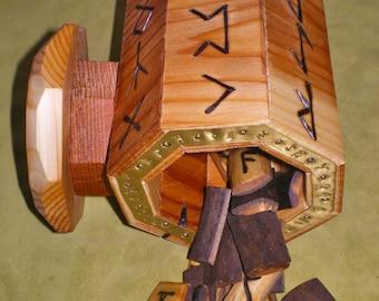 Elderberry Wood Rune Set and Cedar Wood Casting Cup