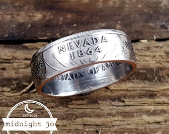 Nevada Coin Ring Your Size Double Sided State Quarter MR0705-TSTNV