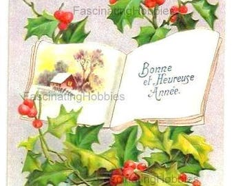 Vintage Postcard- EMBOSSED HOLLY, Book, LANDSCAPE- French colorful Print,1911- written, stamp -Holiday greetings- red, green- Good Condition