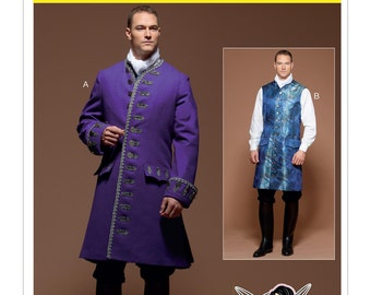 Men's Three-Quarter-Length Coat & Vest Costume Pattern - McCall's M7585 Sewing Pattern, Renaissance Size: 38 -40 -42 -44  or  46 -48 -50 -52