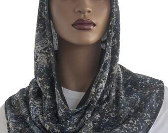 Koul SHôl™ Head Hoodie Blue Grey Black Cotton Jersey Knit Cowl Hoodie Lined Veil Devotional Head Hoodie Veil Hoodie Hijab Hoodie Handmade