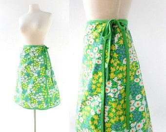 Floral Wrap Skirt | Blumenfeld | 70s Skirt | 24-27W XS S