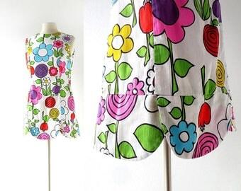 1960s Mini Dress | Pop Floral Print | Malia Dress | Small S