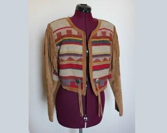 1980s Pioneer Wear Suede Fringe southwestern cropped Jacket