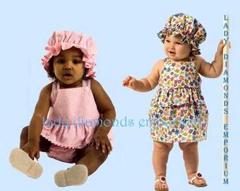 Butterick 4763 Babys Dress Panties Romper Snap Crotch Hat Prairie Bonnet Childs size NB S M L Easy Sewing Pattern B4763 Uncut FF