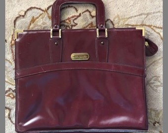 1970s Etienne Aigner Handmade Leather Briefcase, Top Handles, Handmade