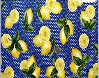 "Robert Kaufman ""Fresh Lemons"" 12067-9 Navy Fabric (Select Size)"
