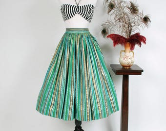 Vintage 1950s Skirt - Boldly Striped 50s Cotton Full Skirt with Metallic Gold, Green, Aqua and Black Striping