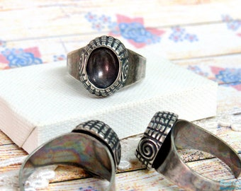 Oval Silver Ring Blank concave setting for 8x10 mm cab thick Frame , Adjustable band , oxidized Sterling Silver plated boho chic ring bezel