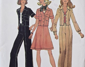 1970's Simplicity 6812 Vintage Sewing Pattern Unlined Jacket, Shorts, Short Skirt and Pants UNCUT Factory Folds Bust 31.5""