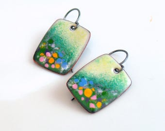 Artisan Colorful Dangle Earrings, Ready to Ship, One of a Kind Copper Enameled Earrings, Flower Fields in Pink Blue and Yellow, Landscapes
