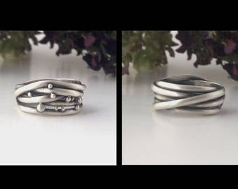 sterling silver band ring, size 8, reversable ring, wide band, double sided ring, artisan ring, READY TO SHIP