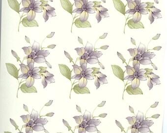 Decals for Ceramic, vintage, floral, purple - BULK LOT