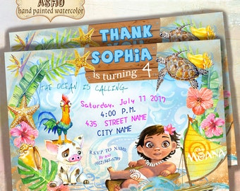 Moana Invitation 5x7inches, Moana Party Invitation, Moana Birthday Party, Disney Moana, Moana Printables, Custom Invitation, Disney Princess